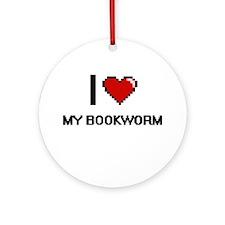 I love My Bookworm digital design Round Ornament