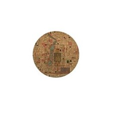 Vintage Map of Beijing China (1914) Mini Button