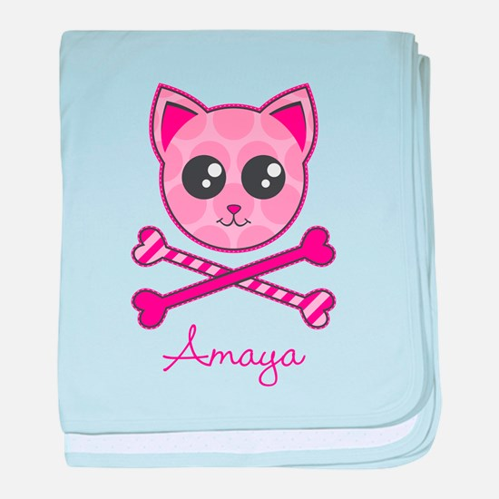 Kitty Crossbones baby blanket