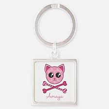 Kitty Crossbones Square Keychain