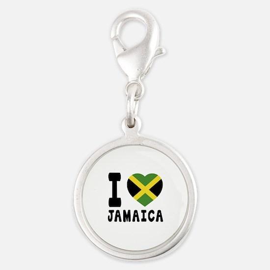 I Love Jamaica Silver Round Charm
