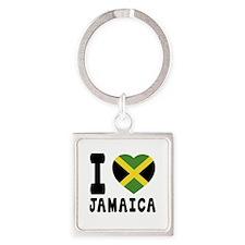 I Love Jamaica Square Keychain