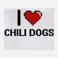 I love Chili Dogs digital design Throw Blanket