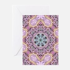 pink bohemian floral mandala Greeting Cards