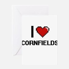 I love Cornfields digital design Greeting Cards