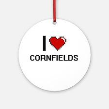 I love Cornfields digital design Round Ornament