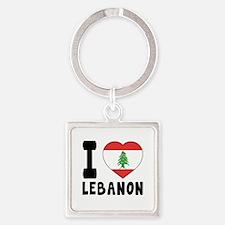 I Love Lebanon Square Keychain