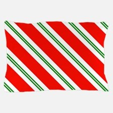 Candy Cane Red & Green Stripes Pattern Pillow Case