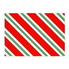 Candy Cane Red & Green Stripes Patt 5'x7'Area Rug