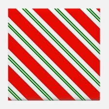 Candy Cane Red & Green Stripes Patter Tile Coaster