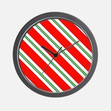 Candy Cane Red & Green Stripes Pattern Wall Clock