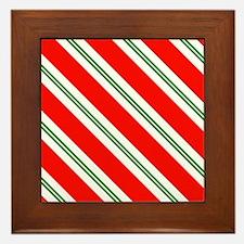 Candy Cane Red & Green Stripes Pattern Framed Tile