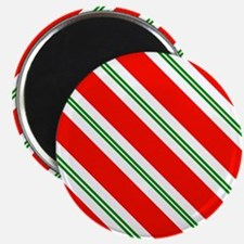 Candy Cane Red & Green Stripes Pattern Magnet