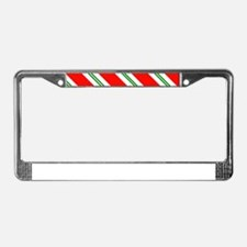 Candy Cane Red & Green Stripes License Plate Frame