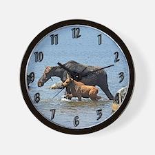 Cow & Calf Moose Wall Clock
