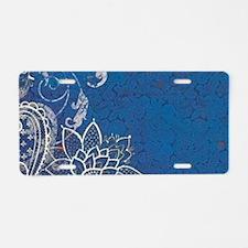 beach blue white lace Aluminum License Plate