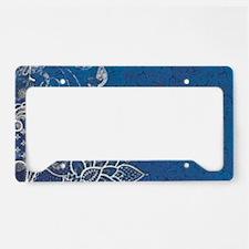 beach blue white lace License Plate Holder