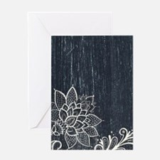 white lace black chalkboard Greeting Cards