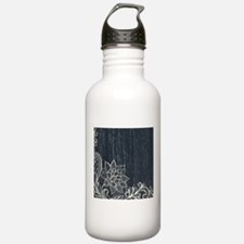 white lace black chalk Water Bottle