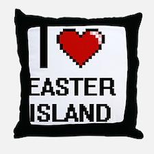I love Easter Island digital design Throw Pillow
