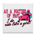 Ride Like a Girl - Snowmobile Tile Coaster