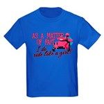 Ride Like a Girl - Snowmobile Kids Dark T-Shirt