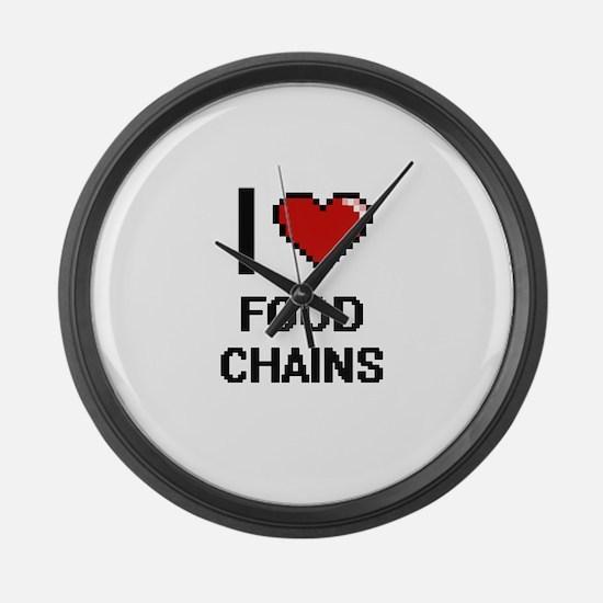 I love Food Chains digital design Large Wall Clock