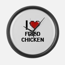 I love Fried Chicken digital desi Large Wall Clock