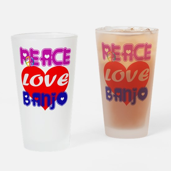 Peace Love Banjo Drinking Glass