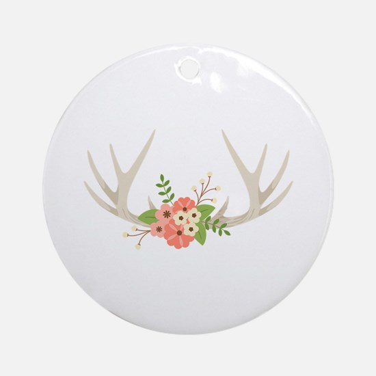 Deer Antler Flowers Round Ornament