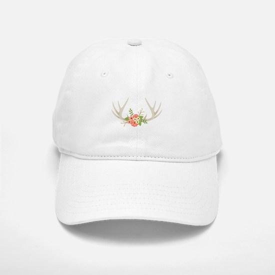 Deer Antler Flowers Baseball Baseball Baseball Cap