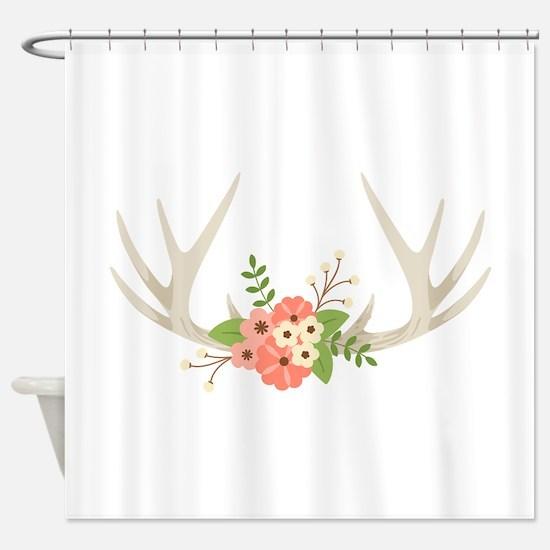 Deer Antler Flowers Shower Curtain
