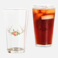 Deer Antler Flowers Drinking Glass