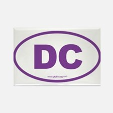 Washington DC Euro Oval PURPLE Rectangle Magnet