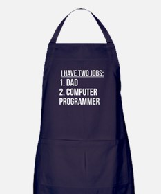 Two Jobs Dad And Computer Programmer Apron (dark)