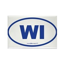 Wisconsin WI Euro Oval Rectangle Magnet