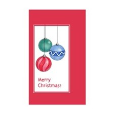 Red Christmas Ornaments Rectangle Decal