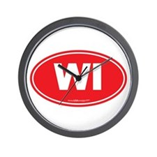 Wisconsin WI Euro Oval Wall Clock