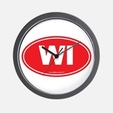 Wisconsin WI Euro Oval Wall Clock