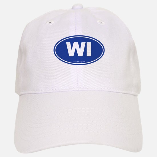 Wisconsin WI Euro Oval Baseball Baseball Cap