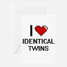I love Identical Twins digital desi Greeting Cards