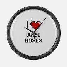 I love Juice Boxes digital design Large Wall Clock