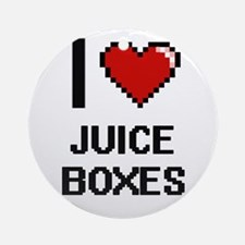 I love Juice Boxes digital design Round Ornament