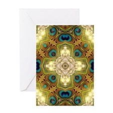 Peacock Glow Cross Greeting Cards