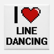 I love Line Dancing digital design Tile Coaster