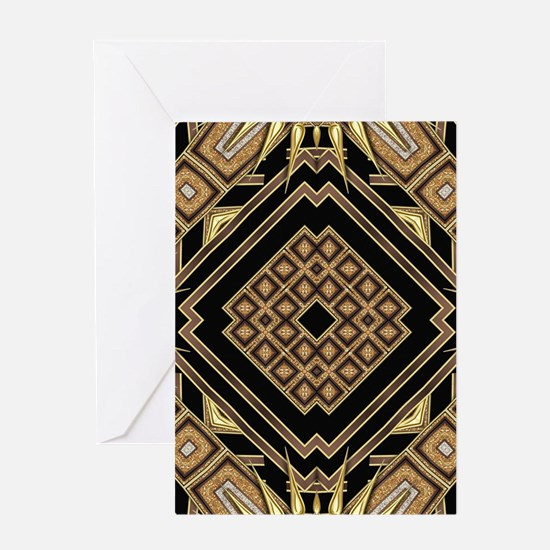 Art Deco Black Gold 1 Greeting Cards