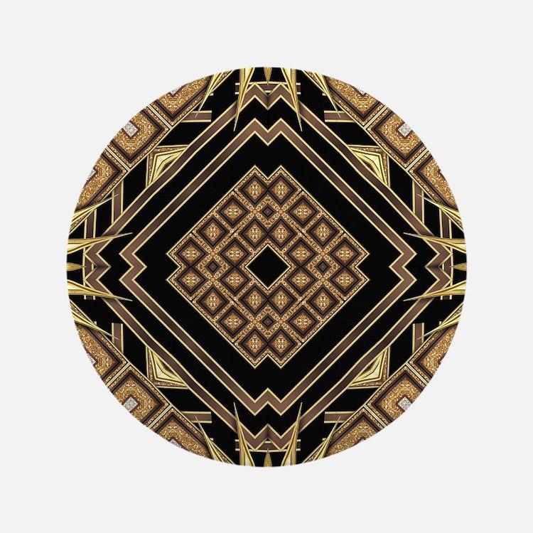 Art Deco Black Gold 1 Button