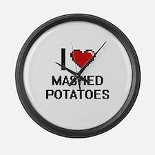 I love Mashed Potatoes digital de Large Wall Clock