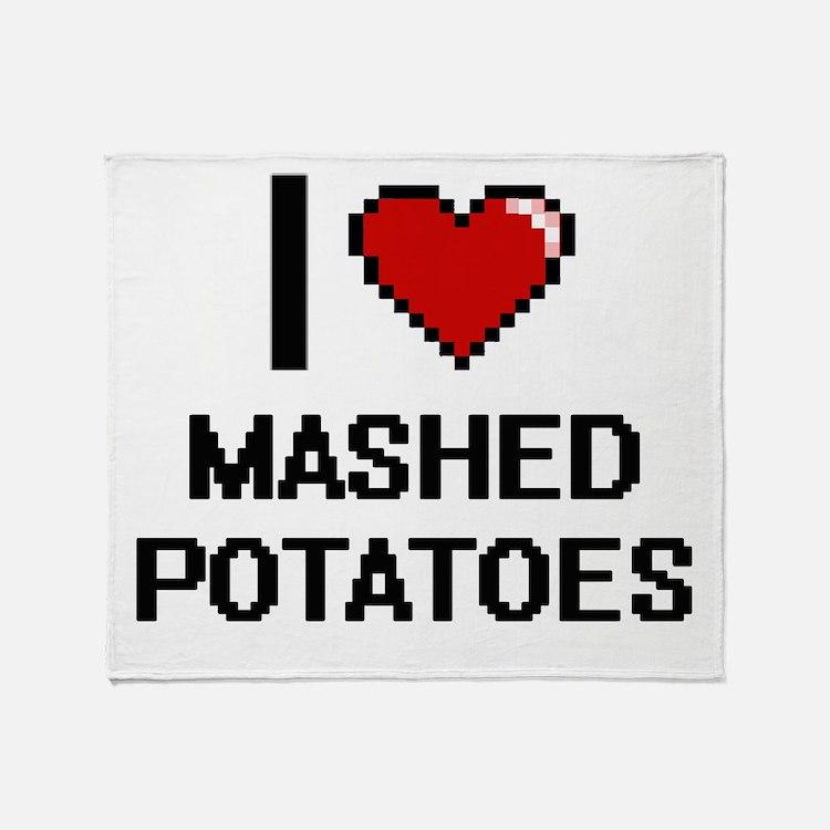 I love Mashed Potatoes digital desig Throw Blanket