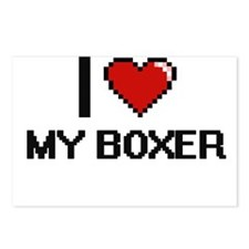 I love My Boxer digital d Postcards (Package of 8)